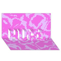 Migraine Pink Hugs 3d Greeting Card (8x4)