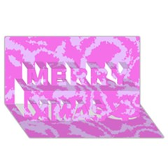 Migraine Pink Merry Xmas 3D Greeting Card (8x4)
