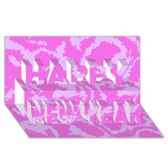 Migraine Pink Happy New Year 3D Greeting Card (8x4)