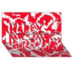 Migraine Red White Happy Birthday 3D Greeting Card (8x4)