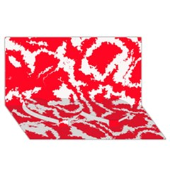Migraine Red White Twin Heart Bottom 3D Greeting Card (8x4)