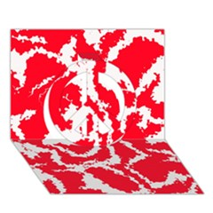 Migraine Red White Peace Sign 3D Greeting Card (7x5)