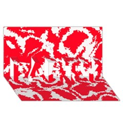 Migraine Red White PARTY 3D Greeting Card (8x4)