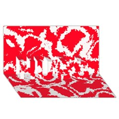 Migraine Red White HUGS 3D Greeting Card (8x4)