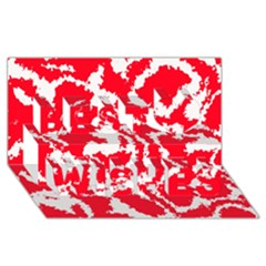Migraine Red White Best Wish 3d Greeting Card (8x4)