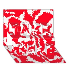 Migraine Red White TAKE CARE 3D Greeting Card (7x5)