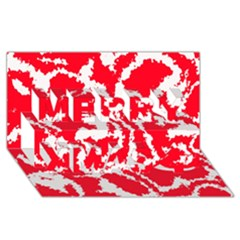 Migraine Red White Merry Xmas 3d Greeting Card (8x4)
