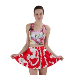 Migraine Red White Mini Skirts