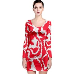 Migraine Red White Long Sleeve Bodycon Dresses