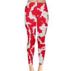 Migraine Red White Winter Leggings