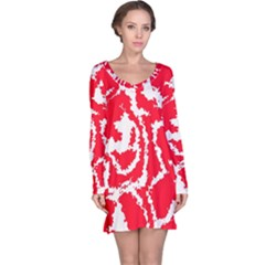 Migraine Red White Long Sleeve Nightdresses