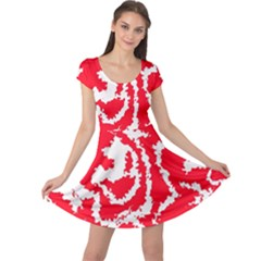 Migraine Red White Cap Sleeve Dresses