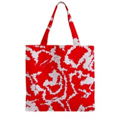 Migraine Red White Zipper Grocery Tote Bags