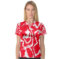 Migraine Red White Women s V-Neck Sport Mesh Tee