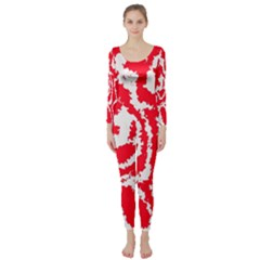 Migraine Red White Long Sleeve Catsuit