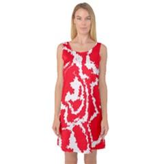 Migraine Red White Sleeveless Satin Nightdresses