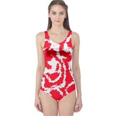 Migraine Red White Women s One Piece Swimsuits