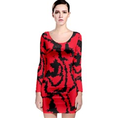 Migraine Red Long Sleeve Bodycon Dresses