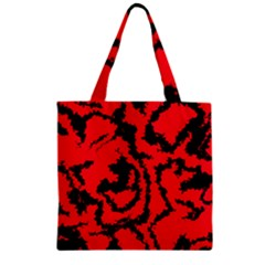 Migraine Red Zipper Grocery Tote Bags