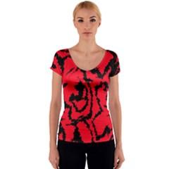 Migraine Red Women s V-Neck Cap Sleeve Top