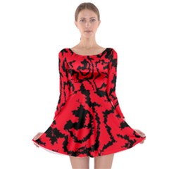 Migraine Red Long Sleeve Skater Dress