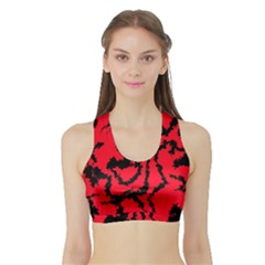 Migraine Red Women s Sports Bra with Border