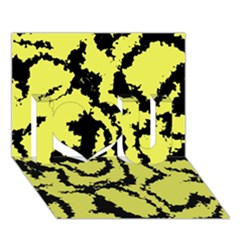 Migraine Yellow I Love You 3d Greeting Card (7x5)