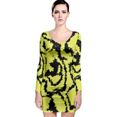 Migraine Yellow Long Sleeve Bodycon Dresses