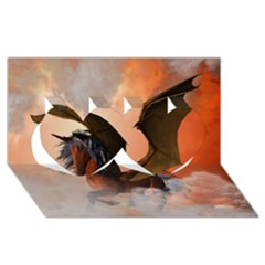 The Dark Unicorn Twin Hearts 3d Greeting Card (8x4)