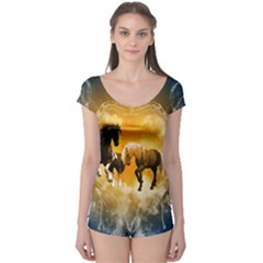 Wonderful Horses Short Sleeve Leotard