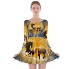 Wonderful Horses Long Sleeve Skater Dress