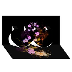 Awesome Flowers With Fire And Flame Twin Hearts 3D Greeting Card (8x4)