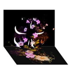 Awesome Flowers With Fire And Flame Clover 3D Greeting Card (7x5)