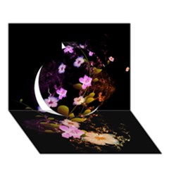 Awesome Flowers With Fire And Flame Circle 3D Greeting Card (7x5)