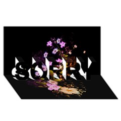 Awesome Flowers With Fire And Flame SORRY 3D Greeting Card (8x4)