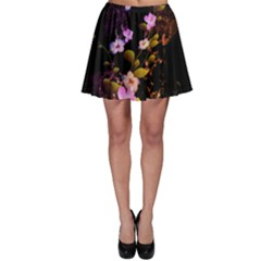Awesome Flowers With Fire And Flame Skater Skirts