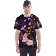 Awesome Flowers With Fire And Flame Men s Sport Mesh Tees