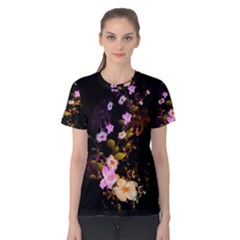 Awesome Flowers With Fire And Flame Women s Cotton Tees