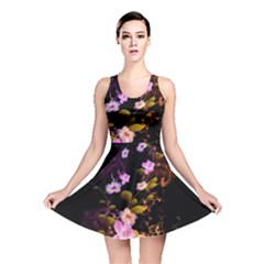 Awesome Flowers With Fire And Flame Reversible Skater Dresses