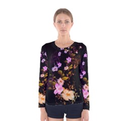 Awesome Flowers With Fire And Flame Women s Long Sleeve T-shirts