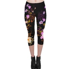 Awesome Flowers With Fire And Flame Capri Leggings