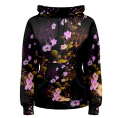 Awesome Flowers With Fire And Flame Women s Pullover Hoodies