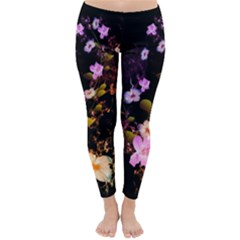 Awesome Flowers With Fire And Flame Winter Leggings