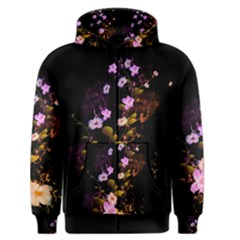 Awesome Flowers With Fire And Flame Men s Zipper Hoodies
