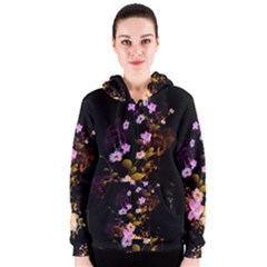 Awesome Flowers With Fire And Flame Women s Zipper Hoodies