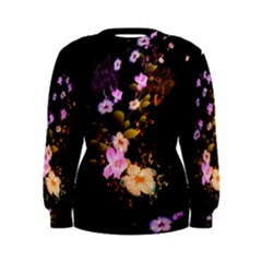 Awesome Flowers With Fire And Flame Women s Sweatshirts