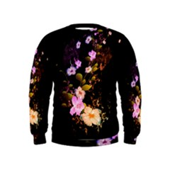 Awesome Flowers With Fire And Flame Boys  Sweatshirts