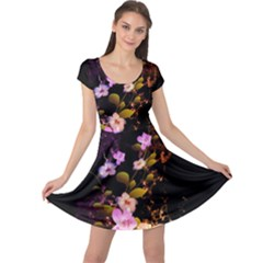Awesome Flowers With Fire And Flame Cap Sleeve Dresses