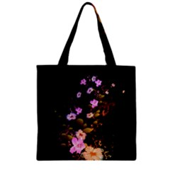 Awesome Flowers With Fire And Flame Zipper Grocery Tote Bags
