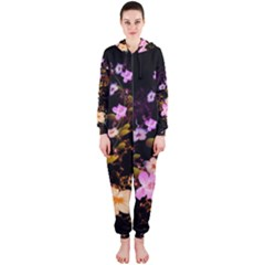 Awesome Flowers With Fire And Flame Hooded Jumpsuit (Ladies)